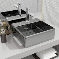 Zqyrlar - Wash Basin with Overflow 41x41x15 cm Ceramic Silver - Silver
