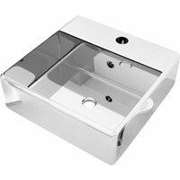Wash Basin with Overflow 41x41x15 cm Ceramic Silver - Silver - Vidaxl