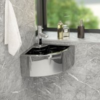 Wash Basin with Overflow 45x32x12.5 cm Ceramic Silver - Silver - Vidaxl