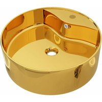 Wash Basin with Overflow 46.5x15.5 cm Ceramic Gold - Gold - Vidaxl