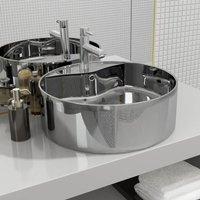 Zqyrlar - Wash Basin with Overflow 46.5x15.5 cm Ceramic Silver - Silver