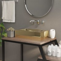 Zqyrlar - Wash Basin with Overflow 49x25x15 cm Ceramic Gold - Gold