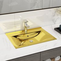 Wash Basin with Overflow 60x46x16 cm Ceramic Gold