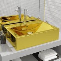 Asupermall - Wash BasinWith Overflo60x46x16 cm Ceramic Gold