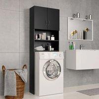 Washing Machine Cabinet Black 64x25.5x190 cm Chipboard