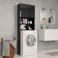 Washing Machine Cabinet High Gloss Black 64x25.5x190 cm Chipboard - YOUTHUP