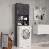 Washing Machine Cabinet High Gloss Grey 64x25.5x190 cm Chipboard - Grey