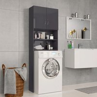 Washing Machine Cabinet High Gloss Grey 64x25.5x190 cm Chipboard - VIDAXL