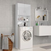 Washing Machine Cabinet High Gloss White 64x25.5x190 cm Chipboard - VIDAXL