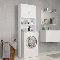 Zqyrlar - Washing Machine Cabinet White 64x25.5x190 cm Chipboard - White