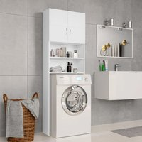 Washing Machine Cabinet White 64x25.5x190 cm Chipboard - ASUPERMALL