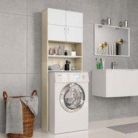 Zqyrlar - Washing Machine Cabinet White and Sonoma Oak 64x25.5x190 cm - Beige