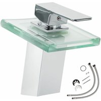Tectake - Faucet glass rectangular waterfall tap with LED lighting - bathroom sink tap, faucet tap, bath and sink tap - grey