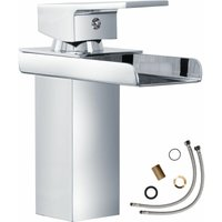 Tectake - Faucet waterfall open outlet - bathroom sink tap, faucet tap, bath and sink tap - grey