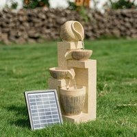 Water Fountain Feature Garden Solar Powered Led Lights Bowls Cascading Statues