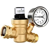 Water Pressure Regulator Valve Lead-Free Brass Adjustable Water Pressure Regulator Reducer with 0-160PSI Gauge and Inlet Screened Filter for RV