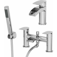 Waterfall Bathroom Basin Sink Mixer Tap Bath Shower Mixer Tap Set Modern Chrome - ARCHITECKT