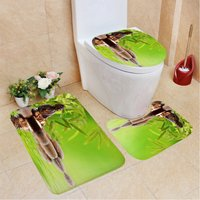 Waterfall Series Waterproof Shower Curtain Toilet Cover Mat (3pcs Bath Mat Set)