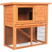 Waterproof 36 2 Tiers Pet Rabbit Hutch Chiken Coop Cage Hen House Wood Color