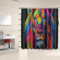 Waterproof Bathroom Set - Shower Curtain - Toilet Cover Carpet - Anti-Slip Carpet - Colorful Lion