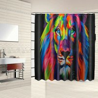 Waterproof Bathroom Set - Shower Curtain - Toilet Cover Mat - Anti-Slip Mat - Colorful Lion WASHED