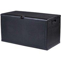 Waterproof Outdoor Lockable Black Storage Chest Box Unit - Cushions Toys Tools - TRUESHOPPING
