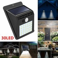 Waterproof Wireless PIR Motion Sensor Solar Outdoor Lights, 30LED Auto On / Off Security Lights for Path Patio Yard Patio Deck Porch Garden Fence