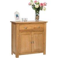 Hallowood - Waverly Oak 2 Door 1 Drawer Small Sideboard in Light Oak Finish | Compact Storage Dresser / Cupboard / Cabinet | Solid Wood Unit