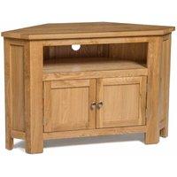 Hallowood - Waverly Oak 2 Door Corner TV Stand Unit in Light Oak Finish | Media Cabinet | Entertainment Table | Solid Wooden Doored Unit