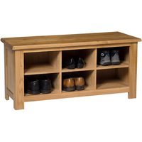 Waverly Oak Small Hallway Shoe Storage Bench in Light Oak Finish 6 Pairs | Solid Wooden Organiser / Cabinet / Stand /Cupboard