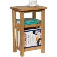 Waverly Oak Magazine Side Table Fully Assembled in Light Oak Finish | Solid Wooden Coffee / Lamp / End / Storage Paper Rack