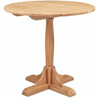 Hallowood - Waverly Oak Small Round Bistro Dining Table in Light Oak Finish   Solid Wooden Kitchen Dinner Table