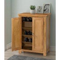 Waverly Oak Shoes Storage Cabinet in Light Oak Finish | Solid Wooden Cupboard / Organiser