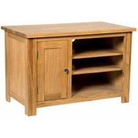 Waverly Oak 1 Door Small TV Stand Unit in Light Oak Finish | Media Cabinet | Entertainment Table | Solid Wooden 2 Shelf Unit