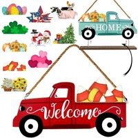 Welcome Sign and Home Sign for Front Door 2-Side Rustic Red Truck Decor with 10-PC Interchangeable Holiday Icons for Spring Easter 4th of July Fall