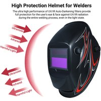 Welding Helmet Solar Powered Auto Darkening Protective Helmet Shield with Variable Shade from DIN9 to DIN13