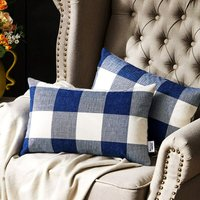 Western Home Decorative Throw Pillow Covers, Farmhouse Buffalo Check Plaid Pillowcase, Linen Cushion Cover Case for Couch Sofa Bed Navy and White