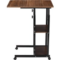 Wheel Removable Laptop Desk Computer Table Stand Adjustable Black oak