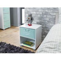 White 1 Drawer Bedside Cabinet With Green Metal Drawer
