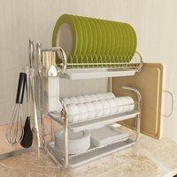 white 3-tier dish drainer