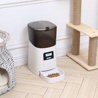 Livingandhome - White 4.5L Automatic Pet Feeder Food Dispenser Plastic Dog Cat Feeder