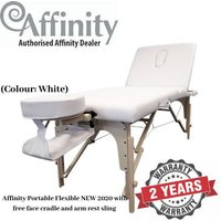 (White ) Affinity Massage Table - Portable Flexible NEW 2020 (with face cradle and arm rest sling)