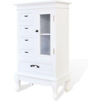 Cabinet with 5 Drawers 2 Shelves White - White - Vidaxl