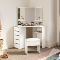 White Corner Dressing Table Set with Mirror and 5 Drawers Bedroom Makeup Desk