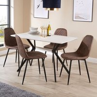 White Dining Kitchen Table Set 4 Brown Quilted Fabric Chairs Black Metal Legs