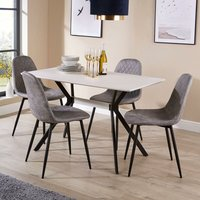 Luxor - White Dining Kitchen Table Set with 4 Grey Quilted Fabric Chairs Black Metal Leg