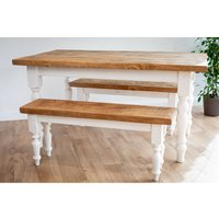 White Farmhouse Dining Set With 2 Benches 122 cm
