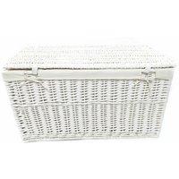 White Grey Wicker Baby Nursery Storage Basket Toy Blanket Box Lined[White,Large 58x38x38cm]
