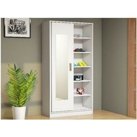 White Hall Unit - Closet, Coat Rack, Shoe Bench - with Mirror, Doors, Shelves - White, made in Wood, 92 x 40 x 178 cm - HOMEMANIA