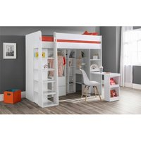 White Highsleeper Ultimate Storage Bed - Single 3ft (90cm) - ASHFIELD CHILDRENS